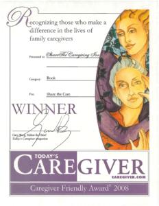 """Caregiver Friendly Award"" from Today's Caregiver Magazine (2008)"